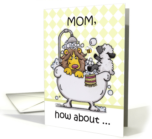 Happy Birthday for Mom-Lion and Lamb -Bubbly card (895875)
