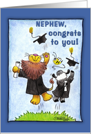 Graduation For Nephew-Lion and Lamb-Hats Off card
