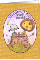 Happy Thanksgiving Day for Grandparents-Lion and Lamb Thankful card