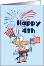 Happy 4th (Uncle Sam-fireworks) card