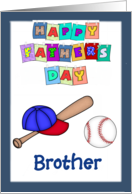 Happy Father's Day Brother - Baseball bat, cap, baseball, blue border card