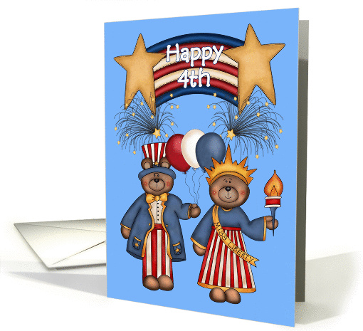 Happy 4th -Patriotic Banner,Bears, Balloons, Fireworks,... (1066155)