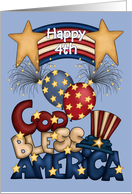 Happy 4th -God Bless America , Patriotic Banner, Balloons, Fireworks card