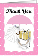 Thank you Card -Bridal Shower Gift- white veil, shoes, pink umbrella card
