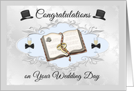 Wedding Day Gay Couple- Congratulations - Bible, Champagne, Top Hats card