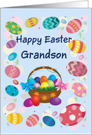 Happy Easter Grandson (Easter eggs/basket) card