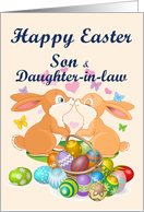 Happy Easter Son & Daughter-in-law (Bunnies & Eggs) card