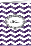 Wedding Menu card, chevrons, violet and white, vintage frame card