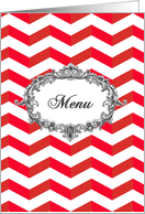Wedding Menu card, chevrons, red and white, vintage frame card
