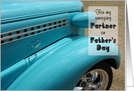 Father's Day, for my Partner, Hot Rod, humorous card