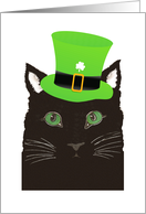Saint Patrick's Day Black Cat Wearing Green Hat card