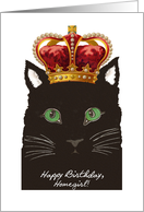Birthday for Homegirl, Staring Cat wears Vintage Crown card
