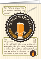 Father's Day for Grandson Retro Quality Beer Label Funny Riddle card