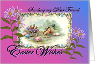 Easter Wishes for Friend Chicks Bunnies Vintage Postcard card