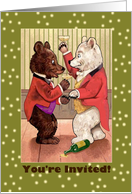 Invitation, coming out party, dressed bears card