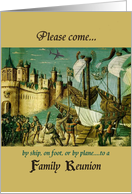 Invitation, family reunion, humorous, castle, ships card