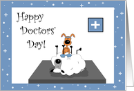 Whimsical, Cute, Puppy, Sheep Patient Happy Doctors' Day Card