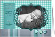 Christening invitation, photo card, customizable, scrapbook style card