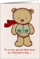 Valentine's Day, Teddy Bear Illustration, for kids, waistcoat, scarf. card