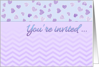 Bridal Shower Invitation, blue, purple, hearts, stripes, chevron card