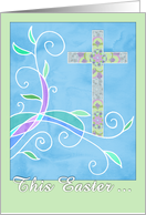 Easter Greetings, Christian, watercolor illustration, cross, patterns card
