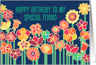 Happy Birthday Special Friend, bright colorful flower illustration card