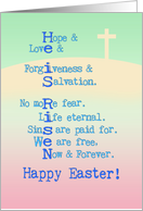 Happy Easter, He is Risen, Christian, cross, pastel colors, typography card