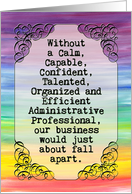 Administrative Professionals Day card, vintage banner, rainbow colors card