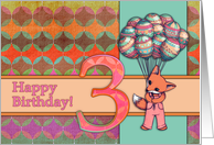 Happy Birthday 3 Year Old Girl Cute Fox With Balloons Retro Fabric