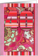 Happy 40th Birthday, stripes, doodles, bright color, pink, red, mint. card