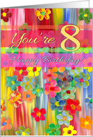 Happy 8th Birthday, bright colors, hand painted flowers, pink, yellow card