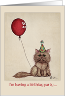 Birthday party invitation, cute kitten illustration, red balloon. card
