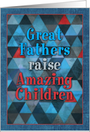 Happy Father's Day, from children, humor, blue, red, triangle pattern card