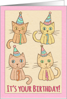 Happy 4th Birthday, cats, party hats, pastel colors, pink, cream card