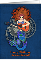 Happy Birthday, dearest friend, mermaid with guitar illustration, blue card