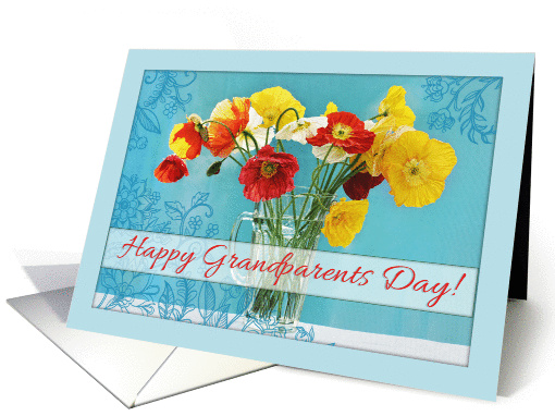 Happy Grandparents Day! Beautiful poppies in vase, blue... (1148348)