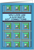 Be my Godfather? Humor, Christian, blue & green geometric pattern card