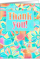 Thank you, bright colorful floral watercolor design, peach, pink, blue card