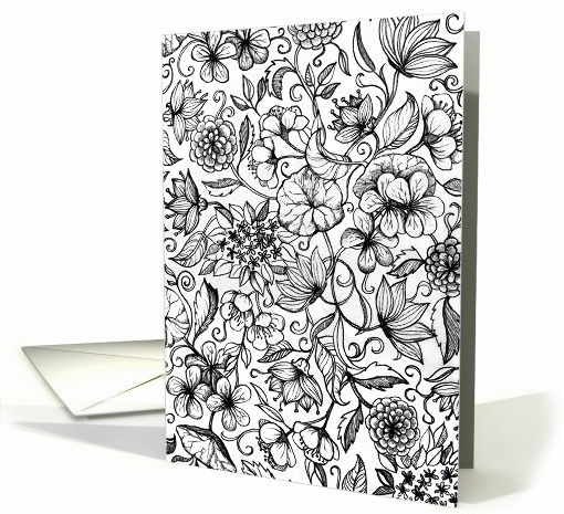 Black & White Floral hand drawn illustration, blank note card
