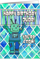 Happy 4th Birthday, Dude, blue & green robot with diamond pattern card