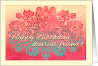 Happy Birthday, dearest friend! Ombre coral, cream & mint doodle card