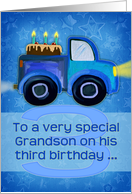 Happy 3rd Birthday To A Very Special Grandson Truck Painting Cake Card