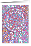 Doodle Tangle style blank note card - aqua, purple, red & white card