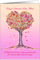 Happy Valentine's Day, Mom! Cute pink heart tree illustration card