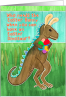 Easter card for Grandson, dinosaur with bunny ears, eggs, illustration card