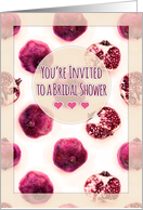 You're invited to a bridal shower - pink & magenta pomegranate pattern card