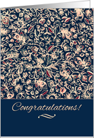 Congratulations! Navy, maroon & cream hand drawn floral pattern card