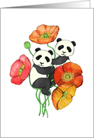 Poppies & Pandas - cute hand drawn illustration, blank inside card