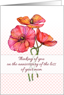 Thinking of you, anniversary of the loss of your mom, poppies card