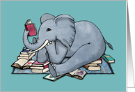 Cute Illustration of an Elephant Reading Books - blank inside card